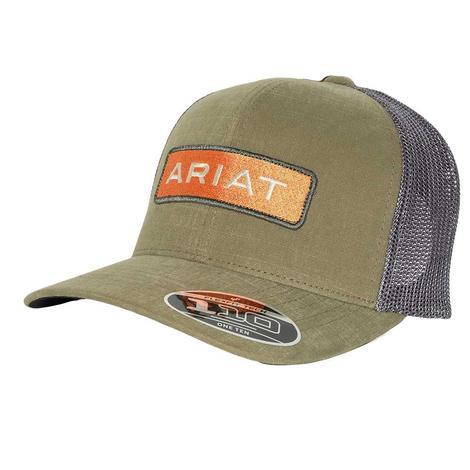 Ariat Olive and Orange Logo Meshback Cap