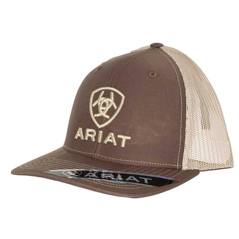 Ariat Brown and Khaki Logo Meshback Cap