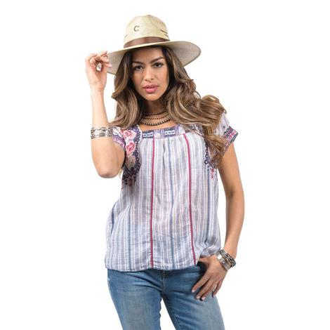 Johnny Was Kiernan Crop Peasant Stripe Blouse