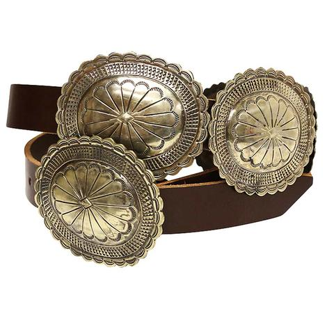 Silver Oval Concho Brown Leather Belt