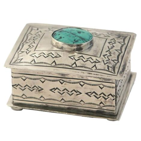 Sterling Silver Small Stamped Box with Turquoise Stone Accent