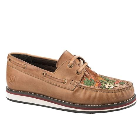 Roper Bertha Brown Leather Cactus Scene Women's Shoe