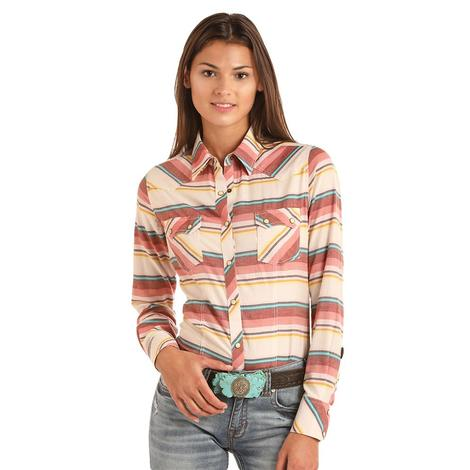 Rock and Roll Cowgirl Coral Multi Striped Longs Sleeve Snap Women's Shirt