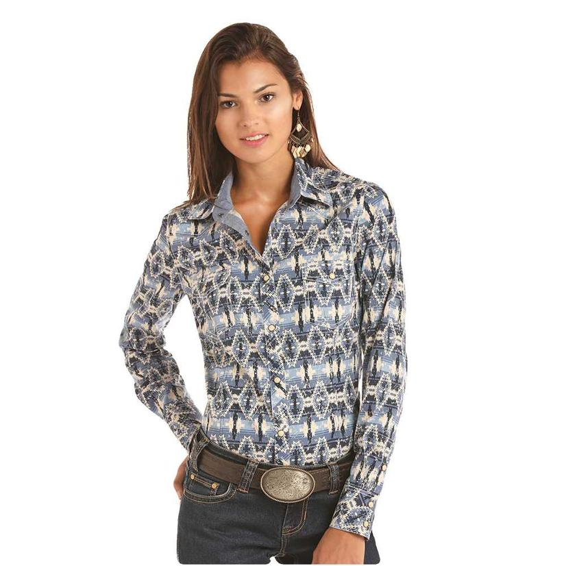 Rock And Roll Cowgirl Blue Aztec Print Long Sleeve Women's Button Down Shirt