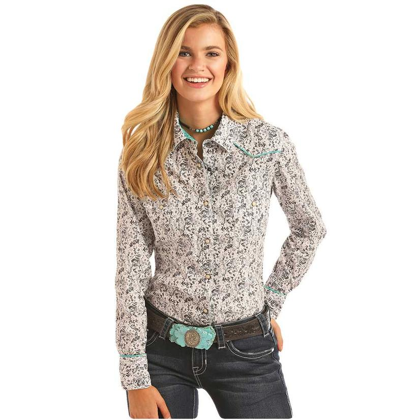 Rock And Roll Cowgirl Charcoal Floral Print Long Sleeve Women's Shirt