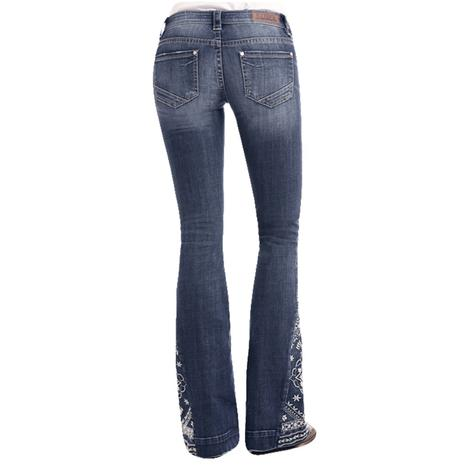 Rock and Roll Cowgirl Medium Vintage Floral Embroidered Trouser Jeans