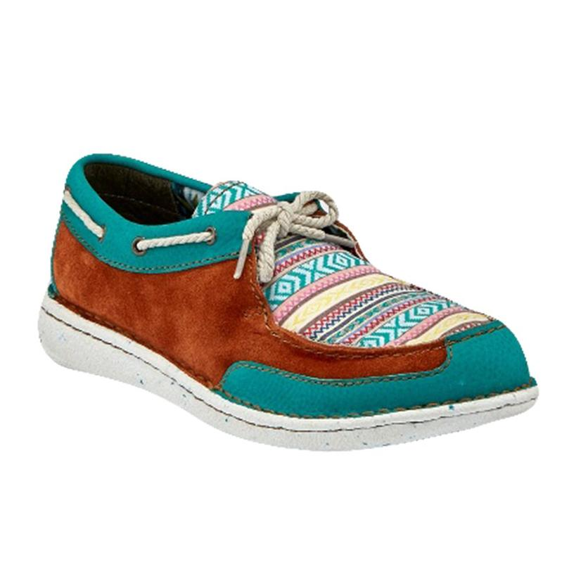 Justin Turquoise Chocolate Suede And Aztec Print Women's Boat Shoe