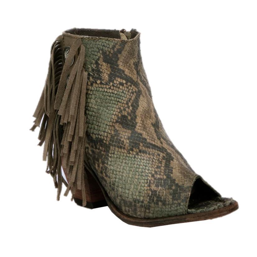 Liberty Black Pithon Fileteado Verde Fringe Concho Shortie Shoe