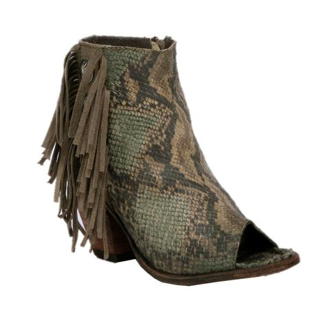 Liberty Black Pithon Fileteado Verde Fringe Concho Shortie Shoe