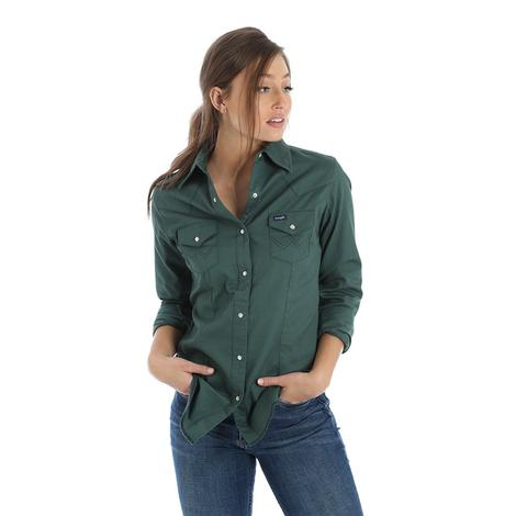 Wrangler Vintage Western Green Women's Long Sleeve Shirt