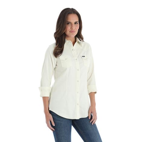 Wranger White Cotton Long Sleeve Women's Work Shirt