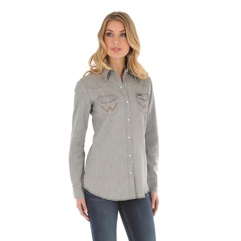 Wrangler Long Sleeve Grey Snap Women's Work Shirt