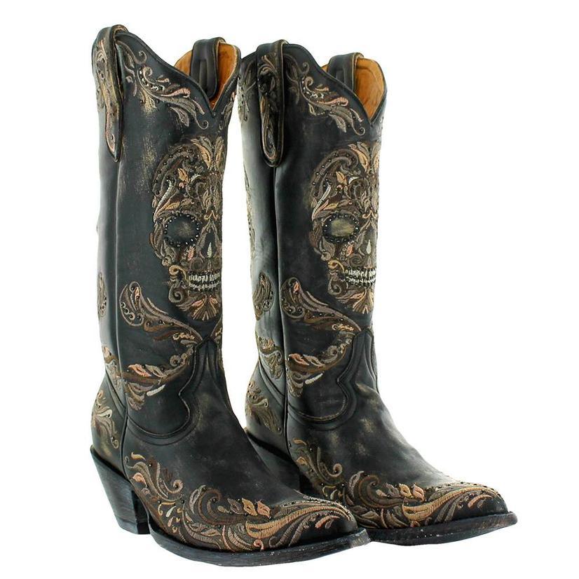 Old Gringo Dulce Calavera Black Embroidered Rhinestone Skull Women's Boots