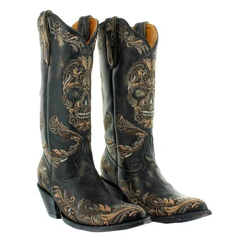 Old Gringo Dulce Calavera Black Embroidered Rhinestone Skull Women's Boots