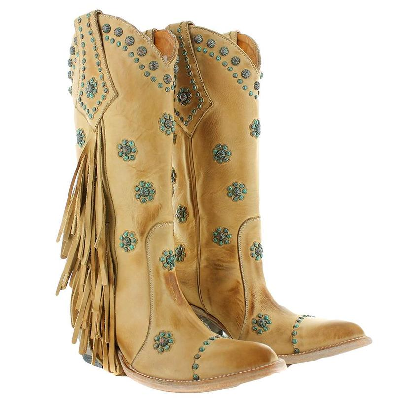 Old Gringo Savannah Tan W Turquoise Concho Fringed Women's Boots
