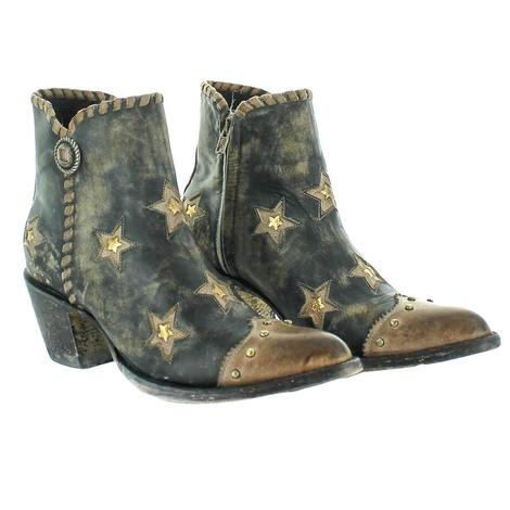 Old Gringo Glamis Black Shortie with Stars and Gold Accent Women's Boots