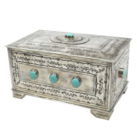 Sterling Silver Turquoise Stone Hinge Top Box