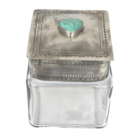 Sterling Silver Stamped Lid with Turquoise Stone and Small Glass Canister