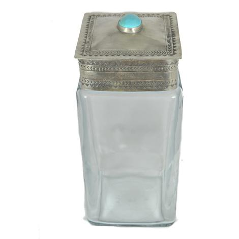 Sterling Silver Stamped Lid with Turquoise Stone and Large Glass Canister