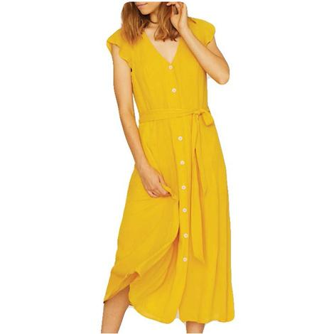 Eden Button Front Yellow Dress