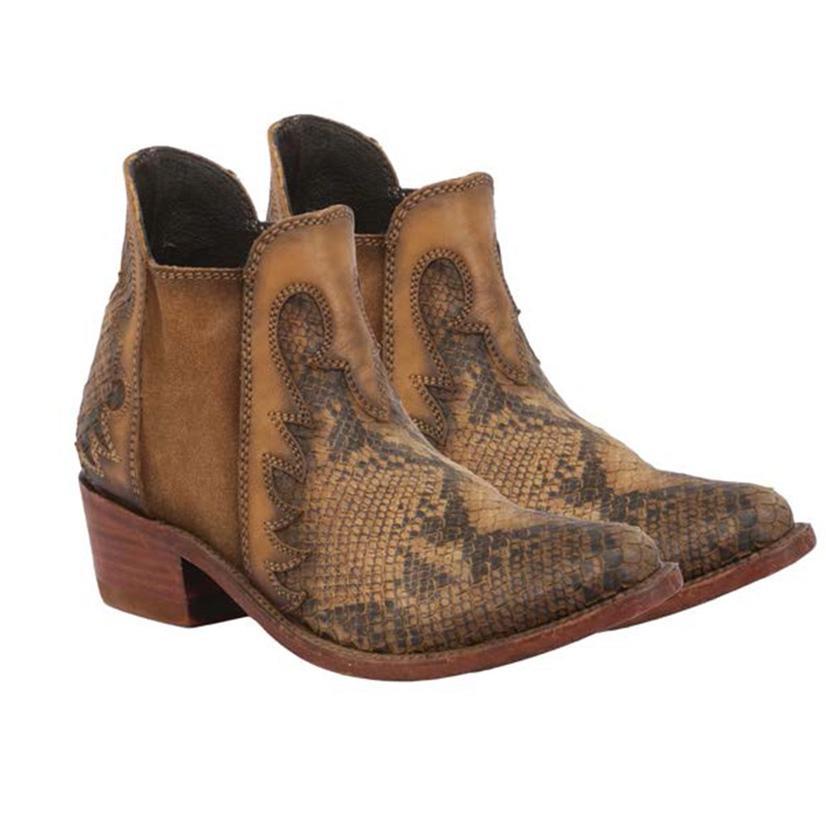 Liberty Black Pithon Fileteado Miel Snakeskin Shortie Women's Boots