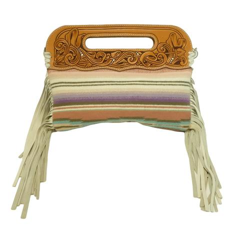 Small Serape Fringed Tooled Leather Clutch