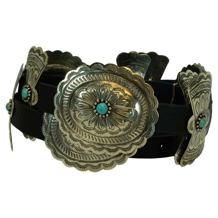 Classic Silver Concho Oval And Bow Black Belt With Turquoise Stones