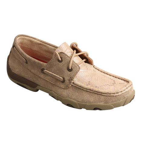 Twisted X Ivory Tan Snake Print Women's Driving Moc