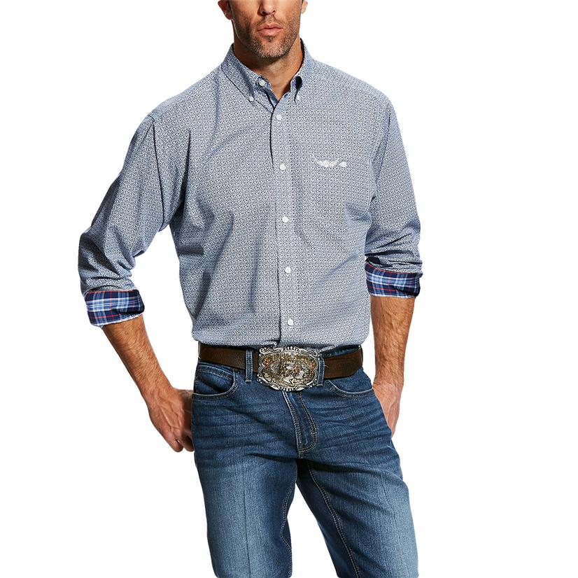 Ariat Relentless Long Sleeve Blue With Plaid Button Down Men's Shirt