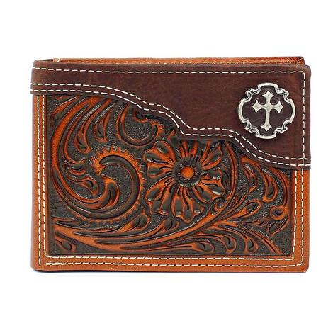 Brown Embossed Cross Bifold Wallet