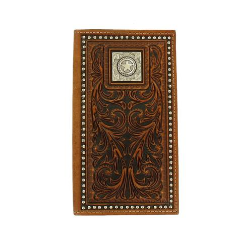 Brown Embossed Square Star Rodeo Wallet