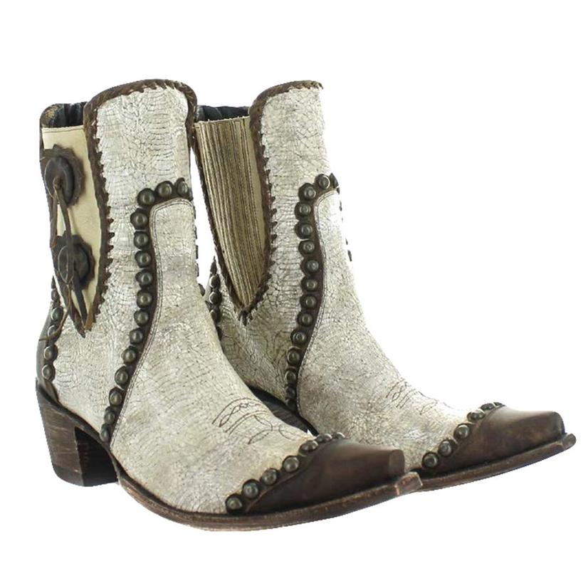 Double D Ranch Stockyards White With Studs Shortie Boots
