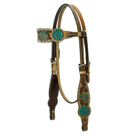 Rafter T Ranch Zuni Turquoise Browband Headstall