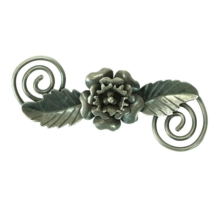Vintage Sterling Silver Rose Blossom Pin