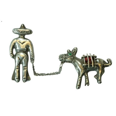 Sterling Silver Vaquero and Buro Pin