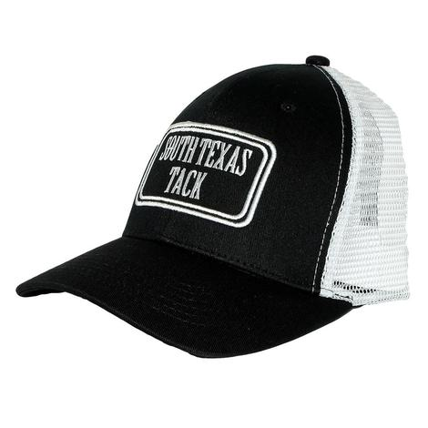 South Texas Tack Black and White Meshback Cap