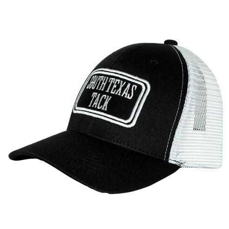 South Texas Tack Black and White Meshback Youth Cap