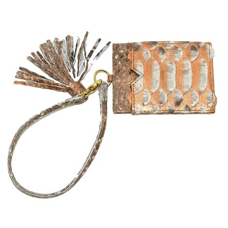 Helene Thomas Orange Python Tasseled Card Holder