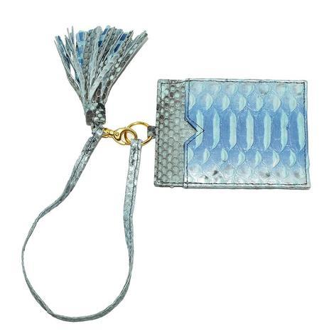 Helene Thomas Blue Python Tassled Card Holder