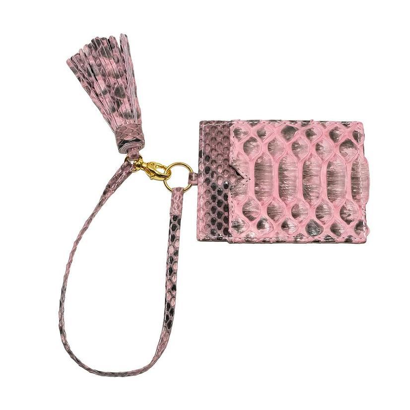 Helene Thomas Light Pink Python Tassled Card Holder