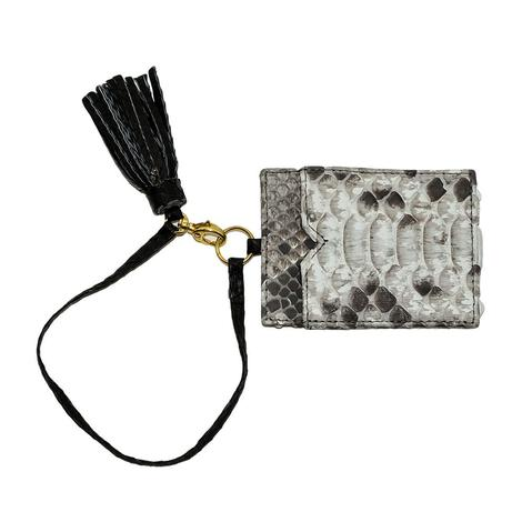 Helene Thomas Natural and Black Python Tassled Card Holder