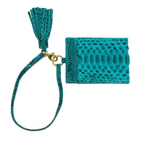 Helene Thomas Turquoise Python Tassled Card Holder