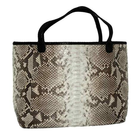 Helene Thomas Large Natural Python with Black Trim Tote