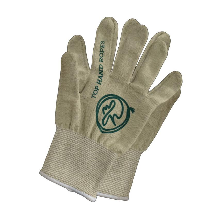 Top Hand Roping Gloves Tan And Green - 12 Pack