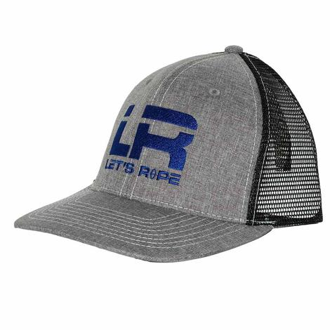 Let's Rope Blue LR Heather Grey and Black Meshback Cap