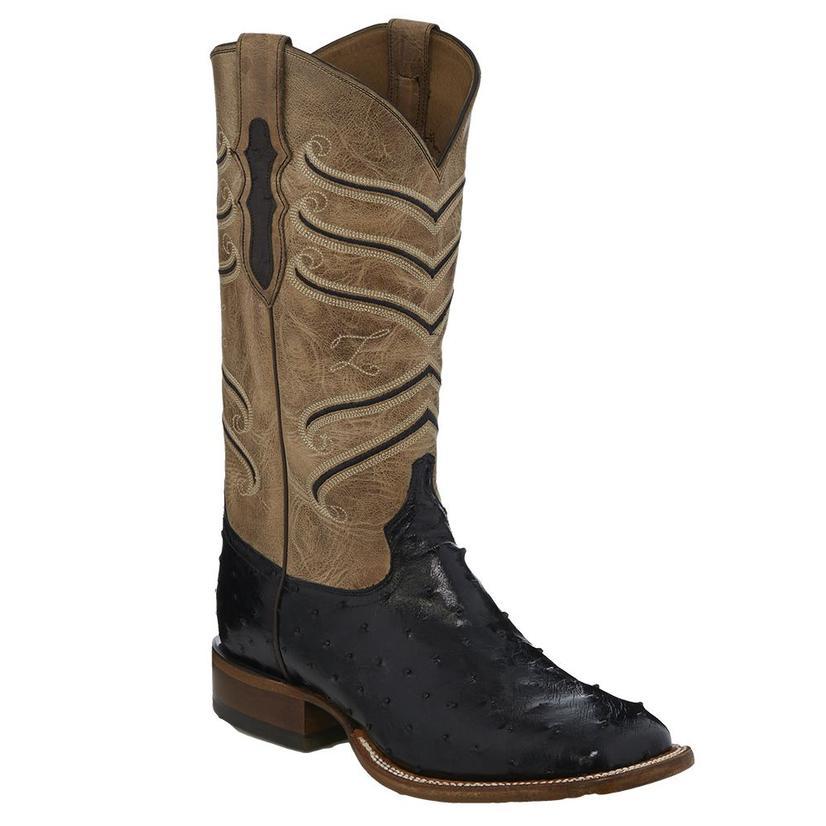 15f70626941 Tony Lama Amell Black Full Quill Ostrich Mens Boots