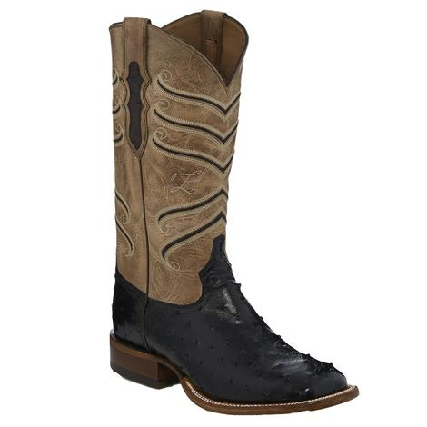 Tony Lama Amell Black Full Quill Ostrich Men's Boots