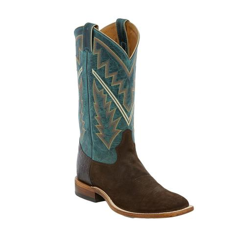 Tony Lama Bingham Chocolate Suede and Blue Leather Men's Boots