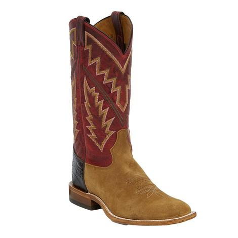 Tony Lama Bingham Tan Suede and Red Pampa Leather Men's Boots