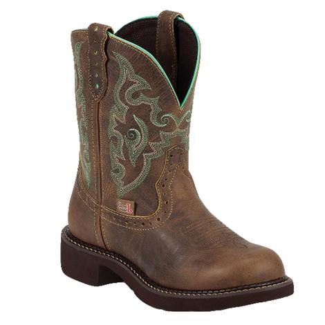 Justin Gypsy Gemma Brown and Mint Stitch Women's Boots